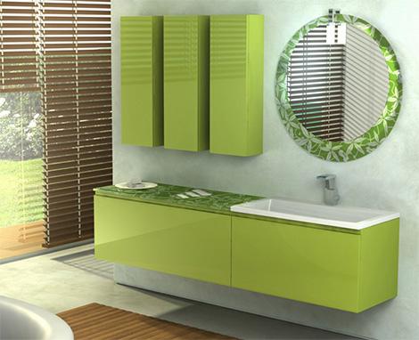 mobila baie mdf verde